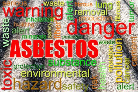 peligro: Imagen del concepto de techo de asbesto peligroso - Los estudios médicos han demostrado que las partículas de amianto pueden causar cáncer
