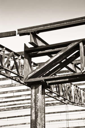 nineteenth: Old iron structure of an old abandoned factory of nineteenth century