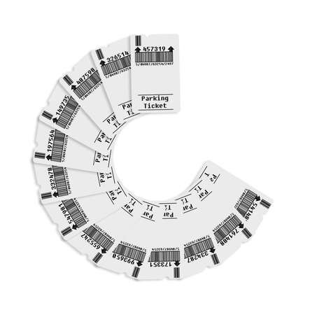 invented: Ticket for parking area on white background. Note: bar code and code numbers are completely made up...   This image does not affect by copyright; the image is totally invented Stock Photo
