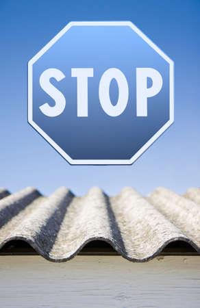 carcinogen: Stop asbestos concept. Stop asbestos whit road sign Stock Photo