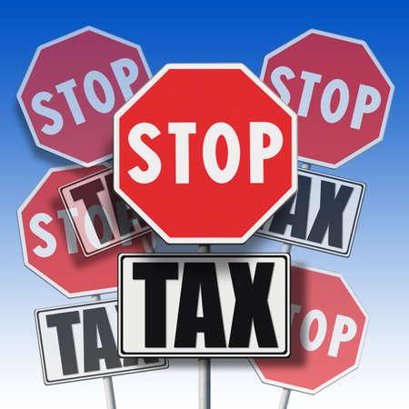 letreros: Deja de impuestos escrito en muchos letreros - concepto Foto de archivo