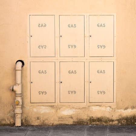 meter box: Protective metal Box of gas meter in a condominium building