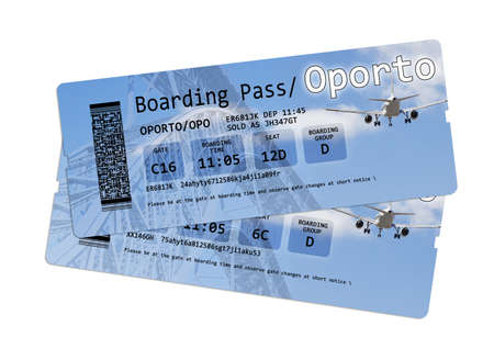 invented: Airline boarding pass tickets to Oporto isolated on white. The image is totally invented and does not contain under copyright parts. The background images are my property Stock Photo