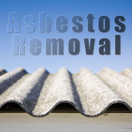 removing the risk: Asbestos removal concept image in square composition