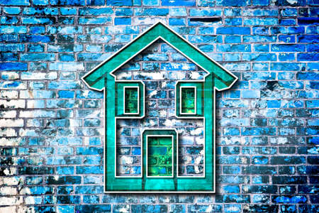 tridimensional: Colored house drawn on a brick wall background