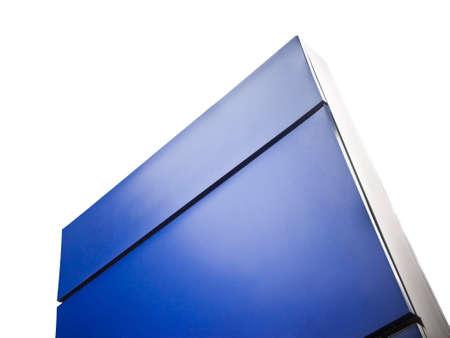 information medium: Blank blue information Sign on white background
