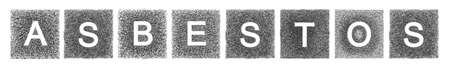 whose: The word asbestos written with letters whose graphic resembles the shape of the asbestos particles.