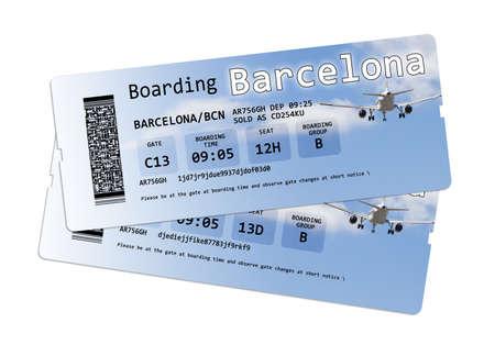 """no pase: billetes de avión a la tarjeta de embarque """"Barcelona"""" aislados en blanco. El contenido de la imagen están totalmente inventados. Los escritos no están sujetos a derechos de autor, de todos modos los códigos; el código QR están totalmente inventado. La imagen de fondo, con el cielo y la airp"""
