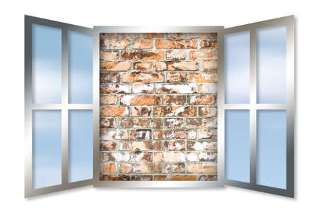 inability: An open window against a solid brick wall. Inability to communicate concept Stock Photo
