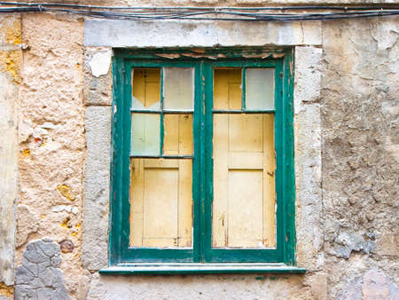 distressed background: Old wooden window with broken glass