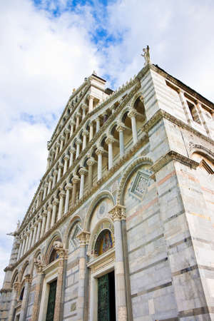 the view from below: Detail of Pisa cathedral view from below Stock Photo