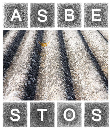 whose: Dangerous asbestos roof. The word asbestos written with letters Whose graphic Resembles the shape of the asbestos particles. Stock Photo