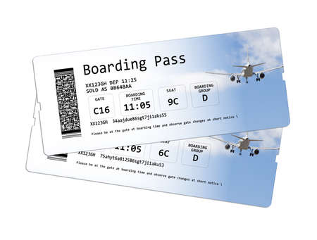 invented: Airline boarding pass tickets isolated on white  The image is totally invented and does not contain under copyright parts. The background images are my property.