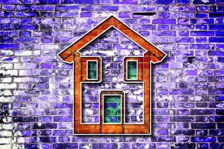 Colored house drawn on a brick wall background