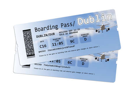 Airline boarding pass tickets to Dublin isolated on white - The contents of the image are totally invented Note for the Ispector: The contents of the image are totally invented. The writings are not subject to copyright, anyway the codes, the QR code are