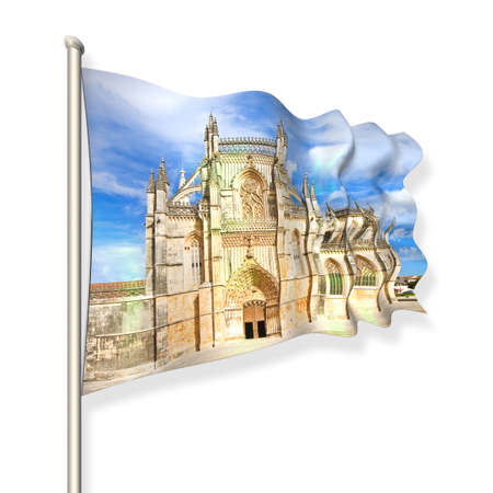 buttresses: The facade of Batalha cathedral in Portugal (Europe) - 3D render flag concept on white background Stock Photo