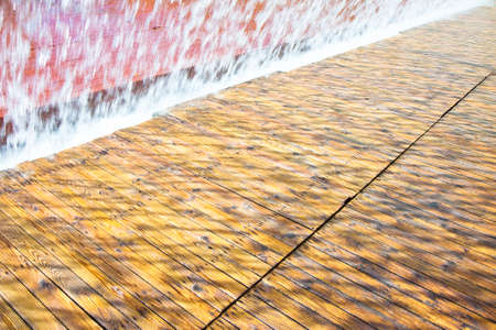 wood staves: Water jets of a modern fountain - East district, Lisbon, Portugal Stock Photo