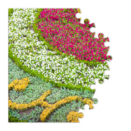 flowerbed: Flowerbed finely cured - concept image in puzzle shape Stock Photo