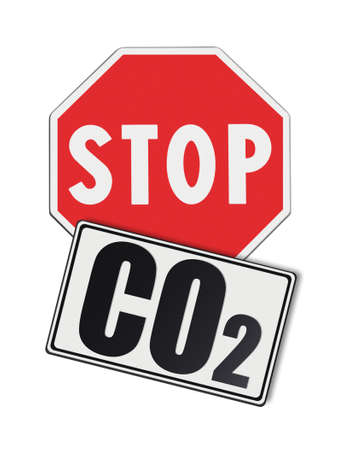 co2: Stop Co2 written on roadsign - concept image on white background