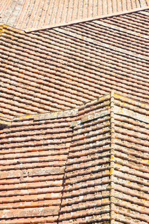 roof ridge: Detail of a Tuscany roof viewed from above Stock Photo