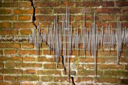 sismográfo: imagen del concepto gráfico de onda del terremoto Foto de archivo