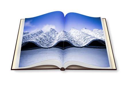 folio: Opened photobook isolated on white background with image of a dangerous asbestos roof