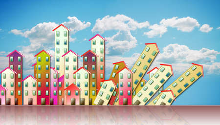 subsidence: Demolition of an urban agglomeration - concept illustration against a cloudy sky Stock Photo