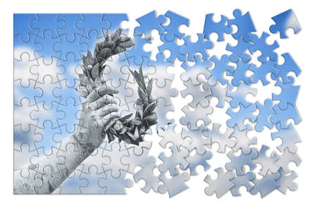 dismantle: The slow construction of success and fame. Laurel Wreath hand held by a bronze statue in puzzle shape.