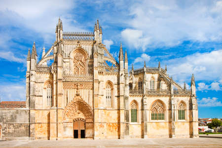 buttresses: The facade of Batalha cathedral in Portugal (Europe)