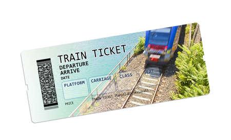 Entraîner image concept de ticket. Le contenu de l'image sont totalement inventés. L'image de fond, avec le train, est une photo de ma propriété.