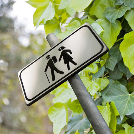 pic nic: Walking in the woods - Sign indicating isolated on white