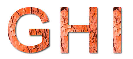 Letters G, H, I with red toned pine bark in background - Useful for natural themes