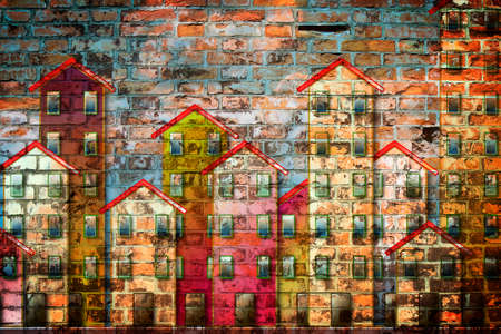 Public housing concept image painted on a brick wall Фото со стока