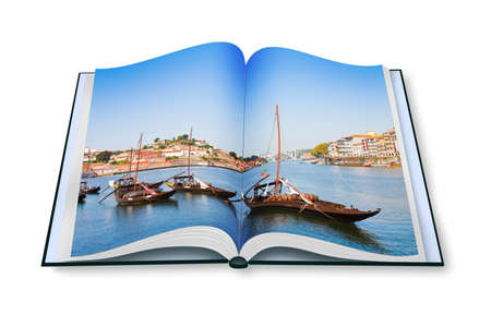 Typical portuguese boats used in the past to transport the famous port wine - Opened photobook isolated on white background . Stock Photo