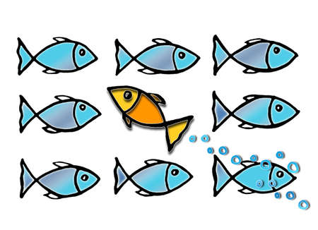 Zwem tegen het getijde - conceptenbeeld met illustratie door uit de vrije hand op witte achtergrond wordt getrokken die