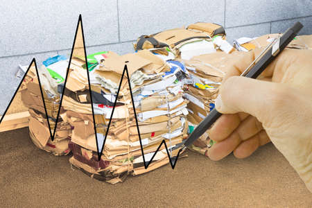 discontinuous: Stacks of paper and cardboard ready to be recycled - concept image