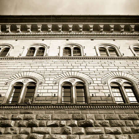 The Medici Riccardis Palace in Florence: a magnificent example of Renaissance architecture (Italy-Tuscany-Florence) - sepia toned Stock Photo