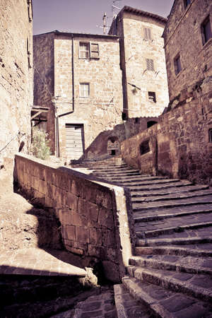 jewish community: Pitigliano, Italian etruscan and medieval village built of tufa stone - Called little Jerusalem for the historical presence of a Jewish community - (Tuscany - Italy) - Toned image Stock Photo