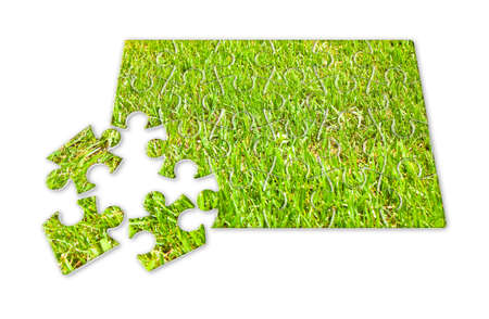 Beautiful green mowed lawn in puzzle shape on white background