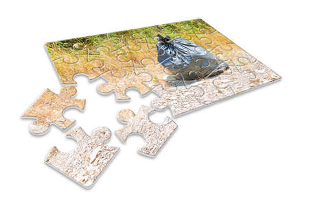 crime solving: Illegal dumping in the nature - concept image in puzzle shape Stock Photo