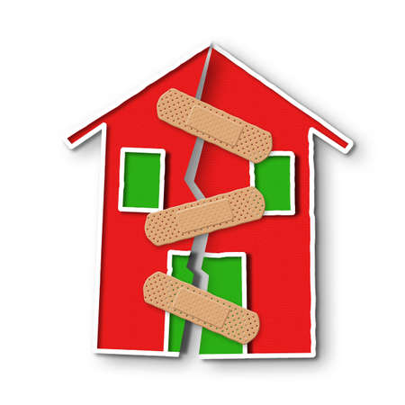 foundation cracks: Small house with a deep crack in the wall - concept of restructuring Stock Photo