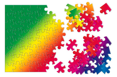 dismantle: Colored jigsaw puzzle - concept image on white background