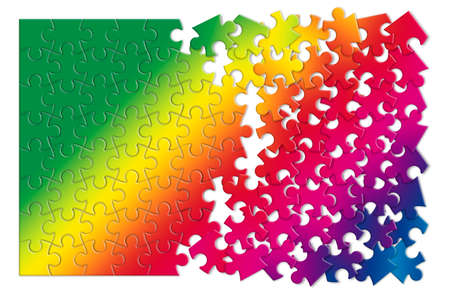 Colored jigsaw puzzle - concept image on white background