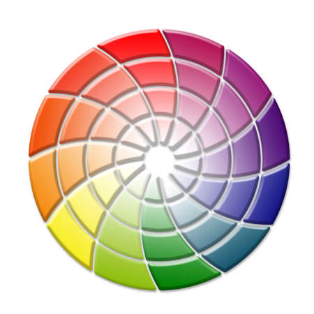 Tridimensional color wheel concept on white background