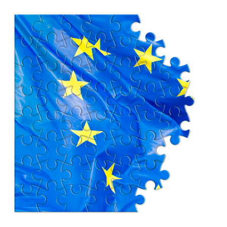 snatched: Frayed European flag - concept image in jigsaw puzzle shape