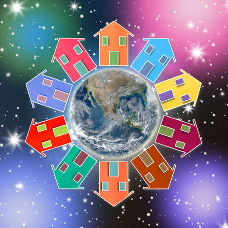 mutual aid: Houses around the Earth. The Earth is our little village - concept image Stock Photo