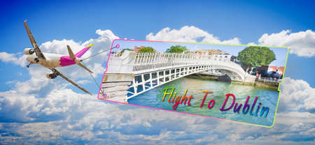 Plane towing a signboard whit image of Dublin (Ireland) - Imaginary graphic on the fuselage