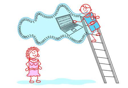 Secure storage on service cloud - concept illustration