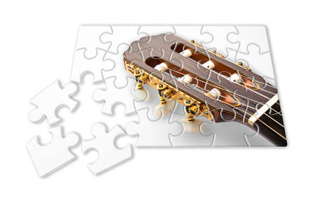 Learning to play the guitar step by step - concept image in puzzle shape Stock Photo