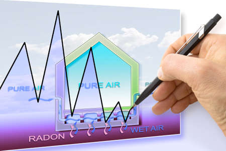 filtering: Hand drawing a graph about radon issue - concept image Stock Photo